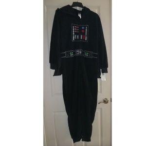 Fleece DARTH VADER Union Suit Pajamas Sz L Hood NW